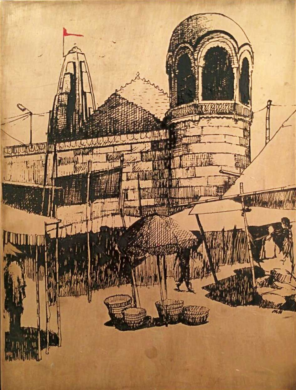 A Faith by Milind Thakur, Illustration Drawing, Bronze, Brown color