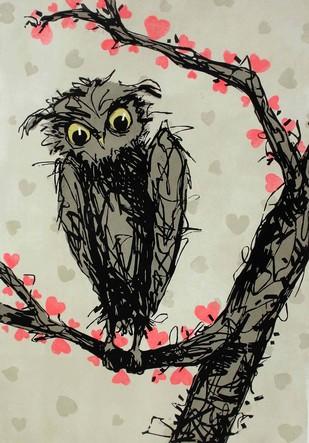 Love Stage by Gurmeet Marwah, Illustration Printmaking, Wood Cut on Paper, Beige color