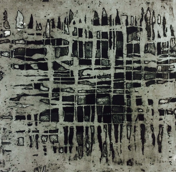 Abstract Landmark by Megha Madan, Abstract Printmaking, Etching on Paper, Gray color