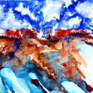 Untittled by Runa Biswas, Impressionism Painting, Watercolor Wash on Paper, Cyan color