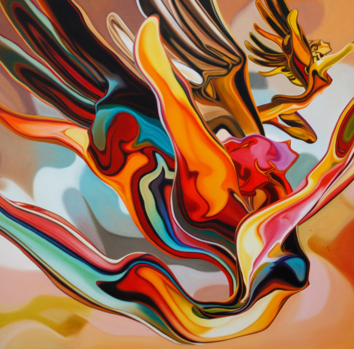 Soaring Spirit by Sudhir Bhagat, Pop Art Painting, Acrylic on Canvas, Brown color