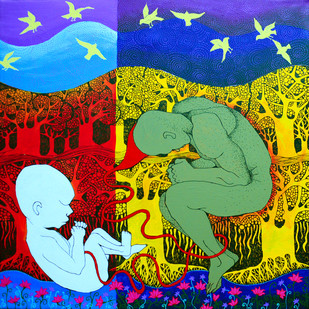 Birth by Pragati Sharma Mohanty, Traditional Painting, Acrylic & Ink on Canvas, Green color
