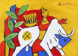 Untitled by M F Husain, Expressionism Painting, Acrylic on Canvas, Brown color