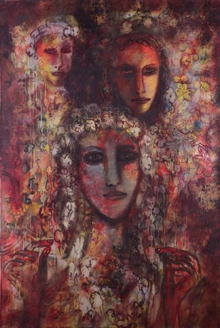 Untitled by M. Sivanesan, Expressionism Painting, Acrylic on Canvas, Brown color