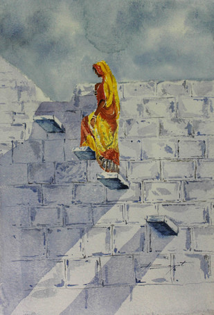 Shadow by Rajat Subhra Bandopadhyay, Impressionism Painting, Watercolor on Paper, Gray color
