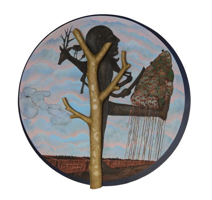The Hunter - Mimic by Jagannath Panda, Pop Art Painting, Mixed Media, Gray color
