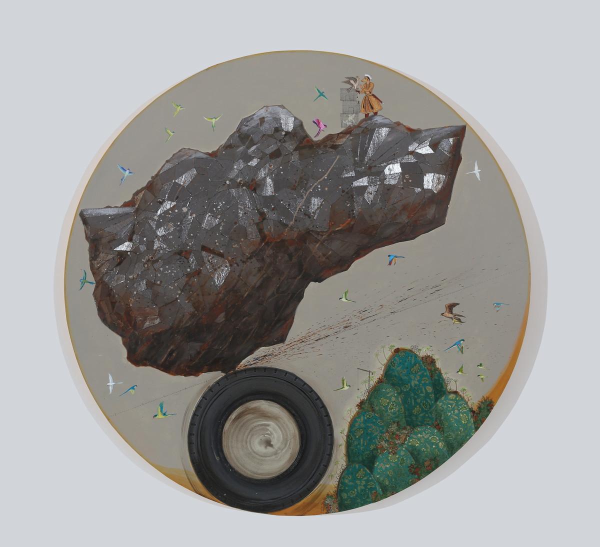 The Grander by Jagannath Panda, Surrealism Painting, Mixed Media, Gray color