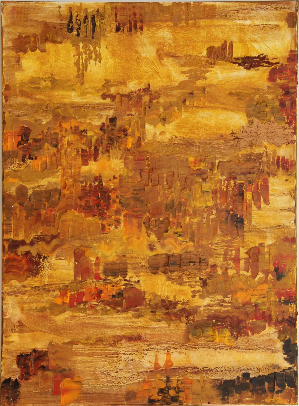 What Lies Below The Surface by Nandita Mukand, Abstract Painting, Oil & Acrylic on Canvas, Brown color