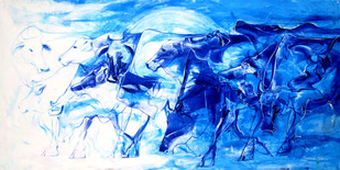 Dawn by Priyendra Shukla, Impressionism Painting, Acrylic & Ink on Canvas, Blue color
