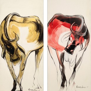 Bull by Priyendra Shukla, Impressionism Painting, Acrylic & Ink on Canvas, Beige color