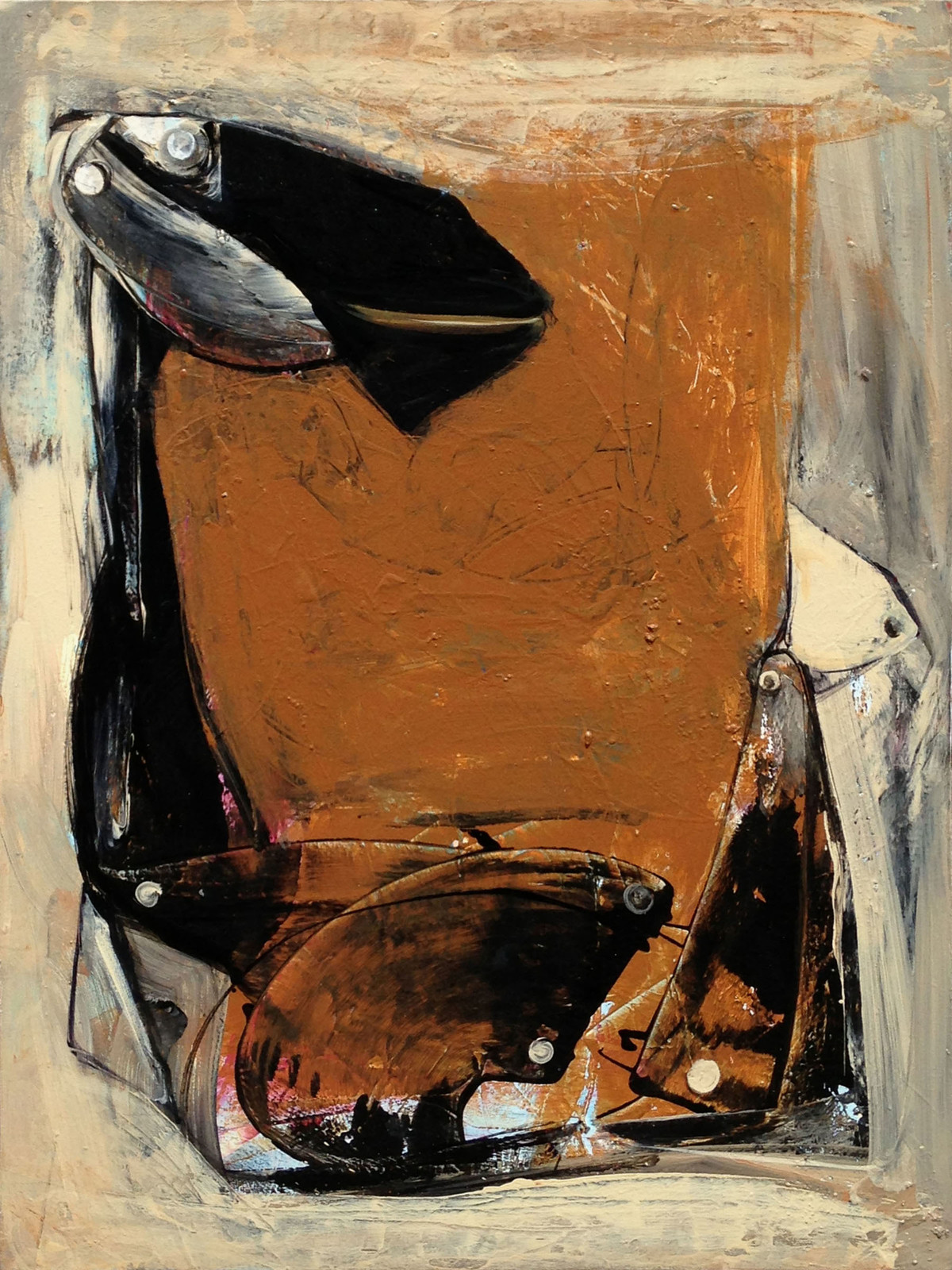 Goat by Priyendra Shukla, Expressionism Painting, Acrylic & Ink on Canvas, Brown color