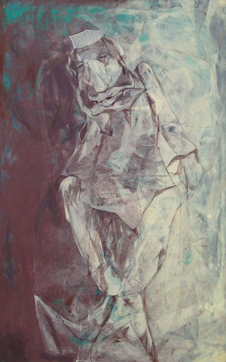 Crumpled Consciousness by Priyendra Shukla, Impressionism Painting, Acrylic on Canvas, Brown color