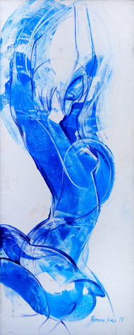 Dancer by Priyendra Shukla, Impressionism Painting, Acrylic on Paper, Cyan color