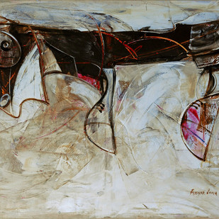 Heir by Priyendra Shukla, Expressionism Painting, Acrylic on Canvas, Beige color