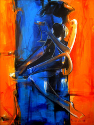 Woman With Wine by Priyendra Shukla, Impressionism Painting, Acrylic on Canvas, Blue color