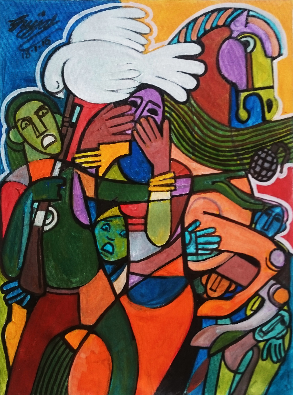 Confusion by Gujjarappa B G, Expressionism Painting, Acrylic & Ink on Canvas, Brown color