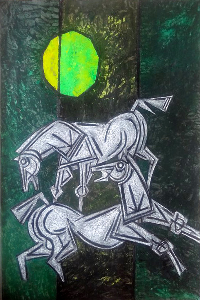 Yellow Moon by Aamir Khatri, Expressionism Painting, Acrylic on Paper, Green color