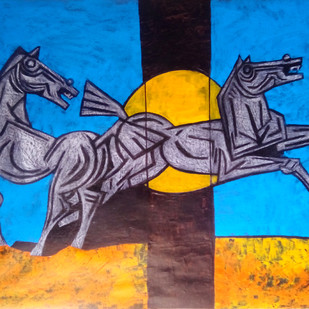 Jumping Horse by Aamir Khatri, Expressionism Painting, Acrylic on Paper, Blue color