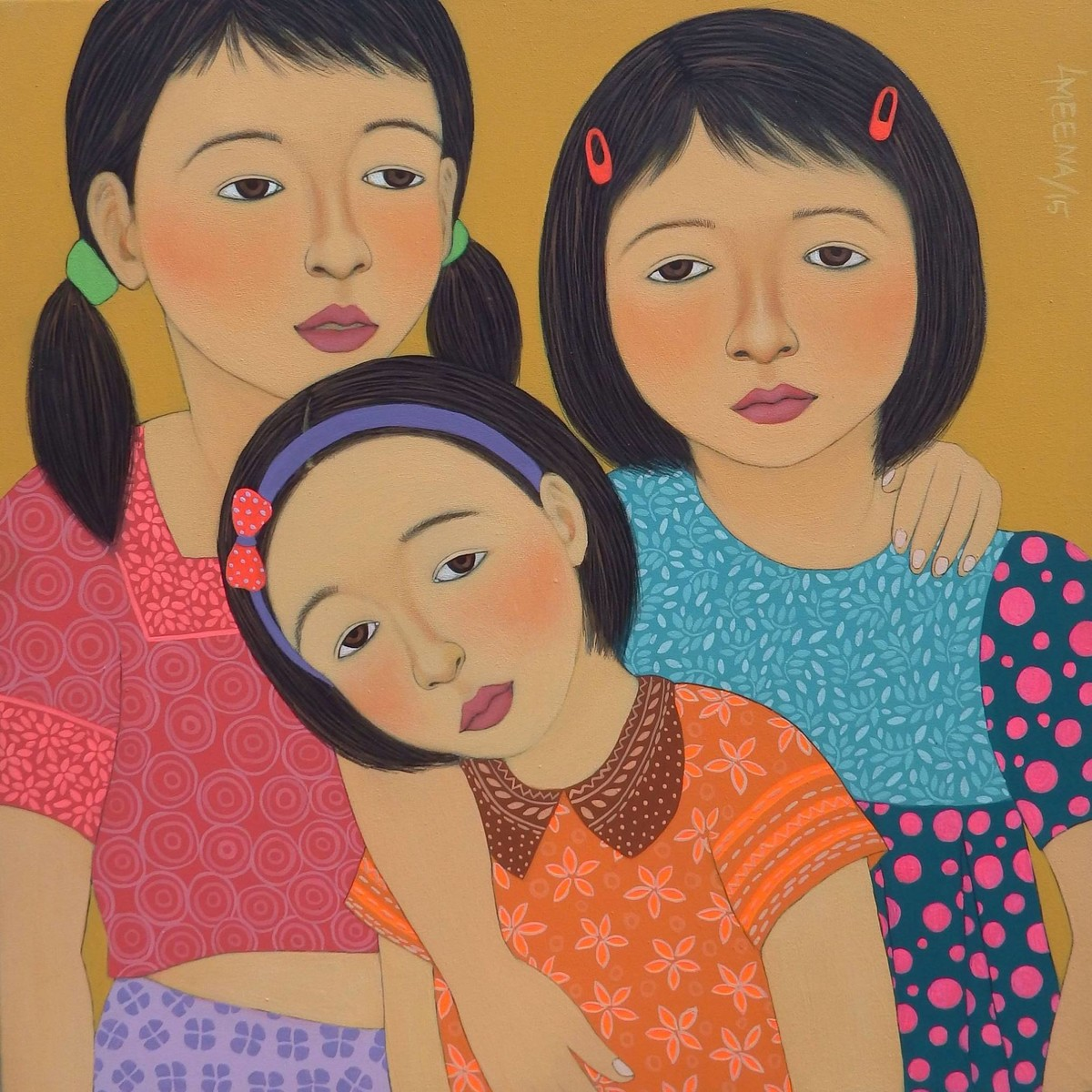 Sisters by Meena Laishram, Traditional Painting, Acrylic on Canvas, Brown color
