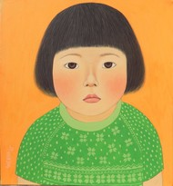 Moment by Meena Laishram, Traditional Painting, Acrylic on Canvas, Green color