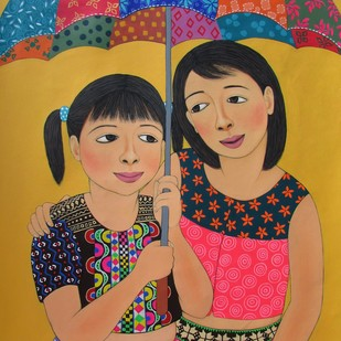 My Colorful Umbrella by Meena Laishram, Traditional Painting, Acrylic on Canvas, Brown color