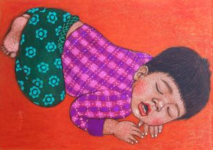 Lullaby 6 Digital Print by Meena Laishram,Traditional