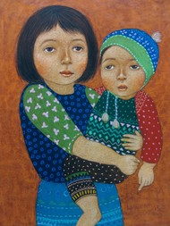 Me and my brother by Meena Laishram, Traditional Painting, Dry Pastel on Paper, Brown color