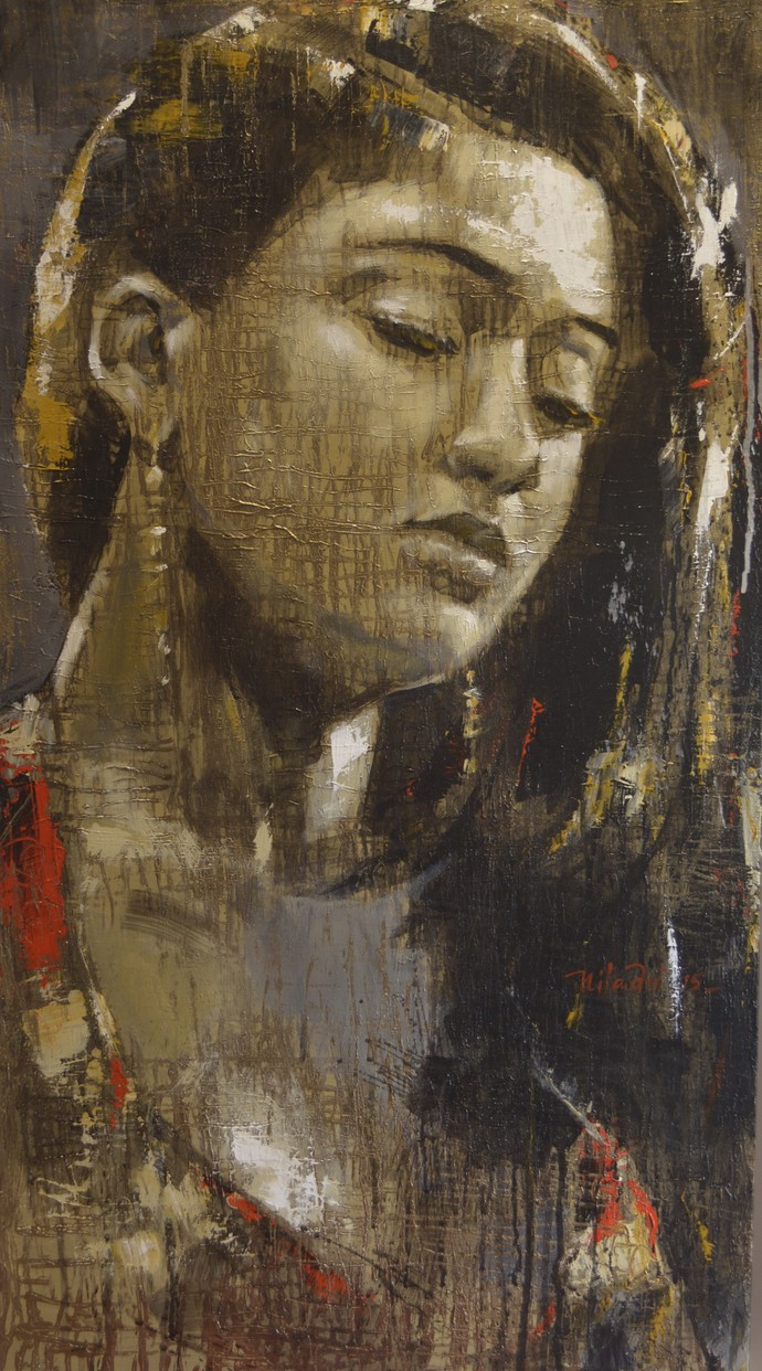 INAMORATA 1 by Niladri Paul, Impressionism Painting, Acrylic on Canvas, Brown color