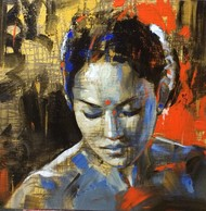 INAMORATA 2 by Niladri Paul, Impressionism Painting, Acrylic on Canvas, Brown color