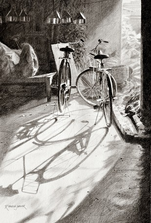 Companions by Ramesh Jhawar, Impressionism Drawing, Pencil on Paper, Gray color