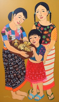 My New Born Puppies by Meena Laishram, Traditional Painting, Acrylic on Canvas, Brown color