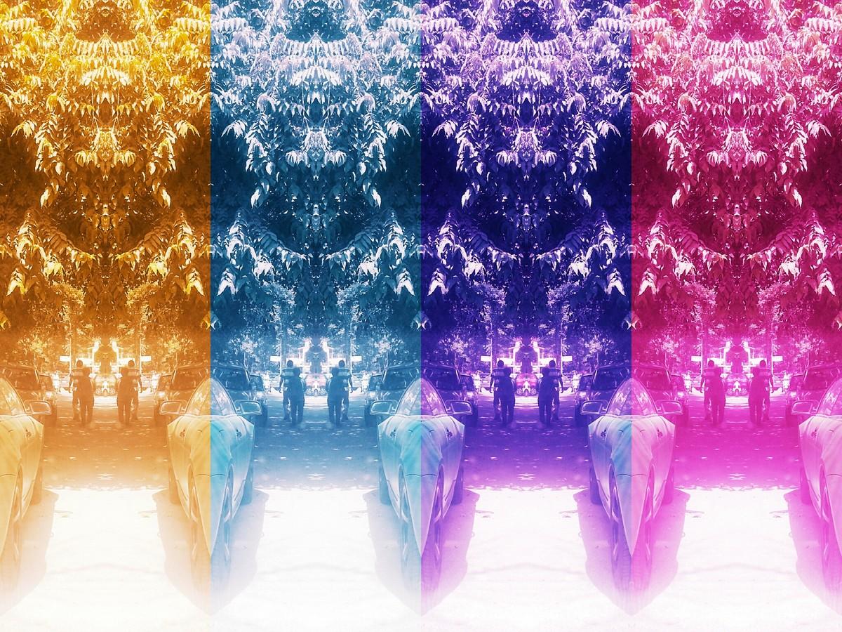 Four Statues by Pankaj Mullick, Digital Digital Art, Digital Print on Enhanced Matt, Purple color