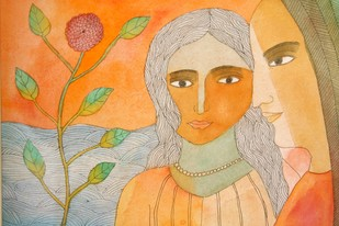 Untitled by Badri Narayan, Impressionism Painting, Watercolor & Ink on Paper, Beige color
