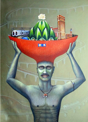 City Developer by mohit, Pop Art Painting, Acrylic on Canvas, Green color