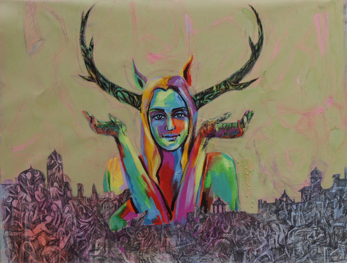 Gallery Of Human Civilization 5 by Apurva Singh, Pop Art Painting, Acrylic & Graphite on Canvas, Beige color