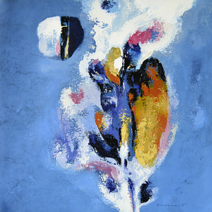 Untitled by Krishna Pulkundwar, Abstract Painting, Acrylic on Canvas, Blue color