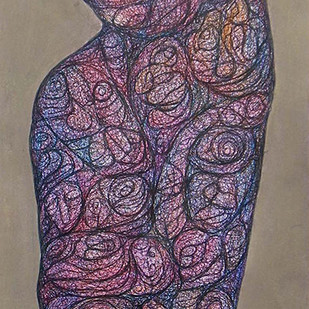 Realization by Probal Banerjee, Expressionism Painting, Mixed Media on Board, Brown color