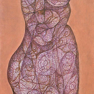 Realization II by Probal Banerjee, Expressionism Painting, Mixed Media on Board, Brown color