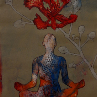 Meditation 46 by Raju Sarkar, Decorative Painting, Acrylic on Canvas, Brown color