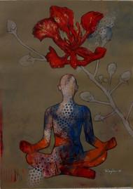Meditation 46 by Raju Sarkar, Decorative Painting, Acrylic on Canvas, Brown color