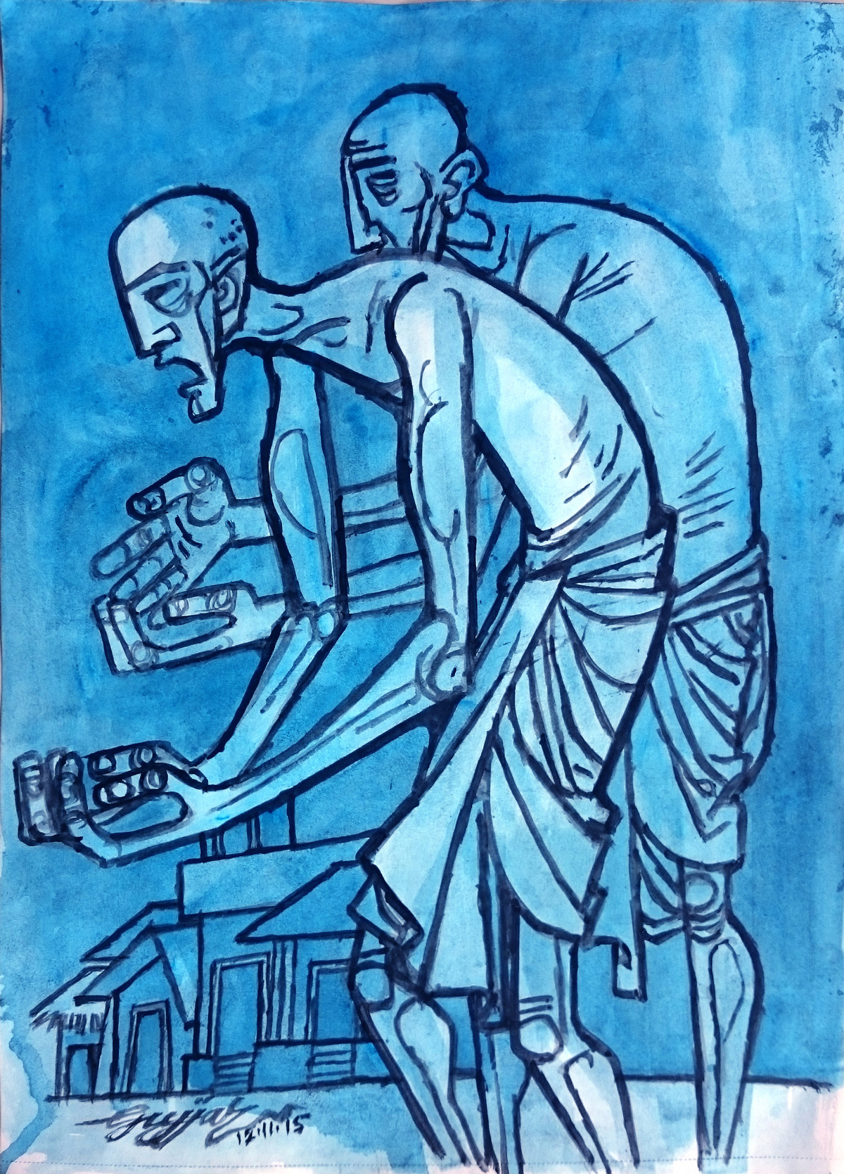 Two Old Men Digital Print by Gujjarappa B G,Expressionism
