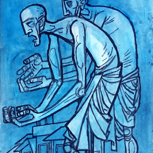 Two Old Men Digital Print by Gujjarappa B G,Expressionism