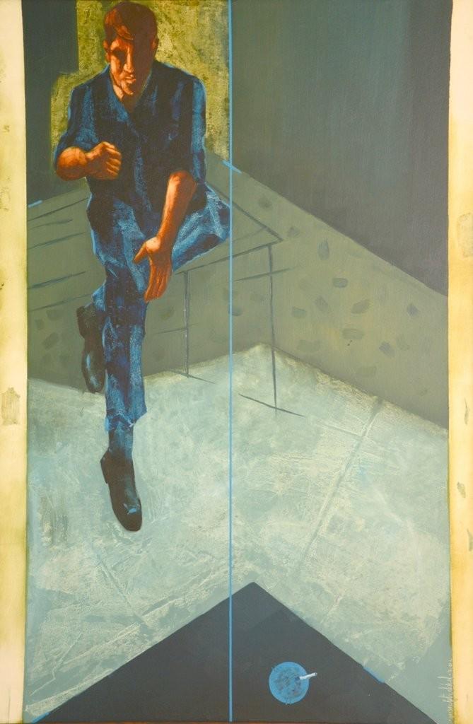 Untitled by Yusuf Arakkal, Pop Art Painting, Oil on Canvas, Beige color