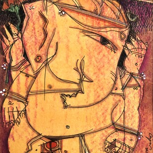 Ganesh D/1 by Anjan Chakraverty, Decorative Painting, Mixed Media on Paper, Brown color
