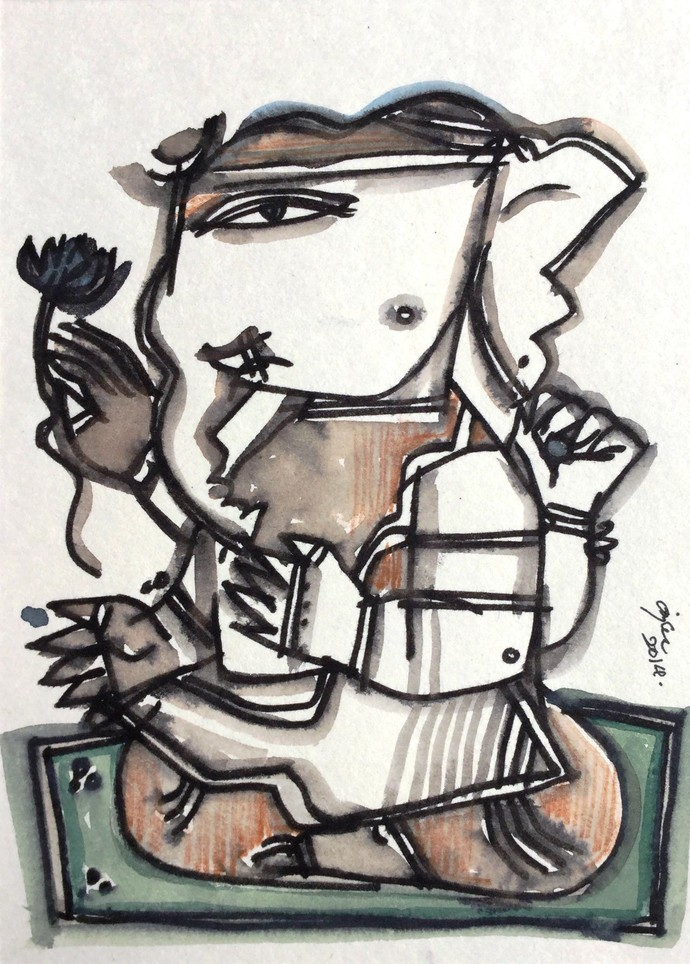 Ganesh E/2 by Anjan Chakraverty, Illustration Painting, Mixed Media on Paper, Gray color