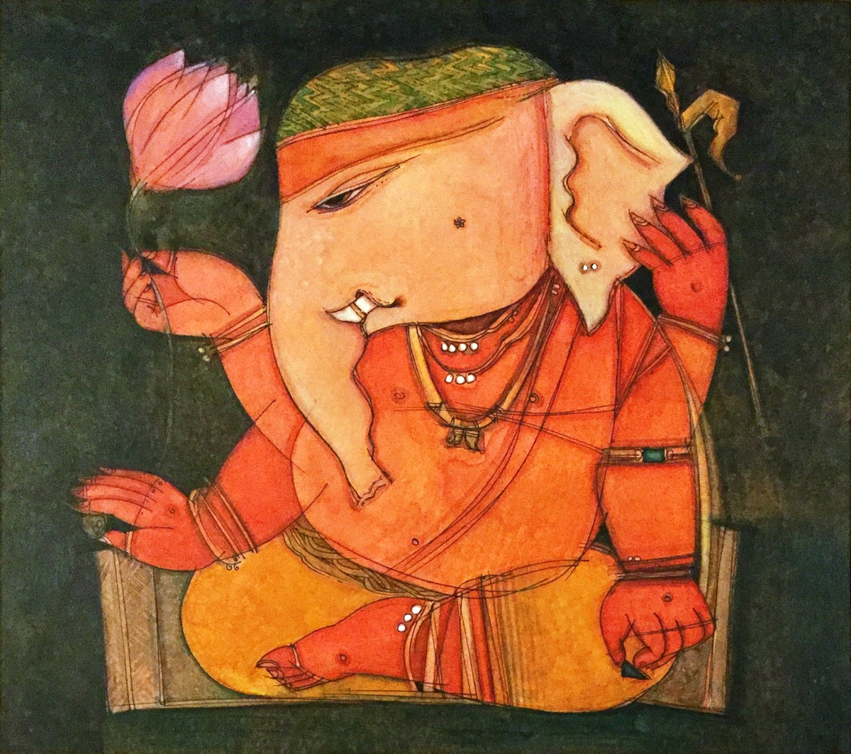 Ganesh DA-1 by Anjan Chakraverty, Decorative Painting, Mixed Media on Paper, Brown color