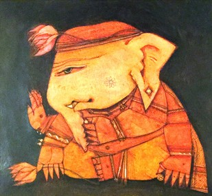 Ganesh DA-2 by Anjan Chakraverty, Expressionism Painting, Mixed Media on Paper, Brown color