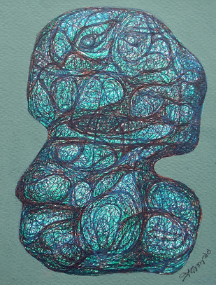 Realization by Probal Banerjee, Cubism Painting, Mixed Media on Board, Green color