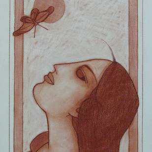 Untitled by Lalu Prasad Shaw, Illustration Drawing, Conte on Paper, Brown color