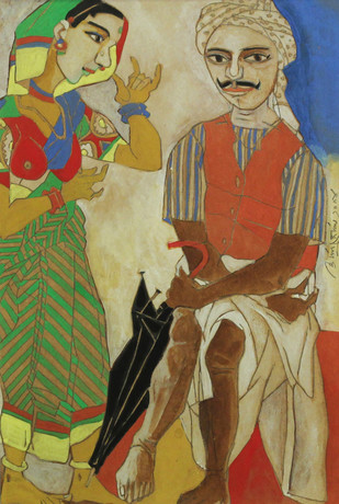 Untitled by Laxma Goud, Expressionism Painting, Watercolor on Paper, Brown color